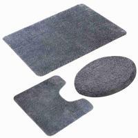 Toilet Three Piece Bathroom Mat Waterproof Anti Slip Carpet Morden Plain Bathroom Carpet