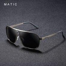 MATIC Alta Aviação Óculos De Sol Para Homens Motorista Lentes Polarizadas Do Vintage do Ouro Praça Metal Frame Óculos de Sol Masculino Óculos de Sol uv400
