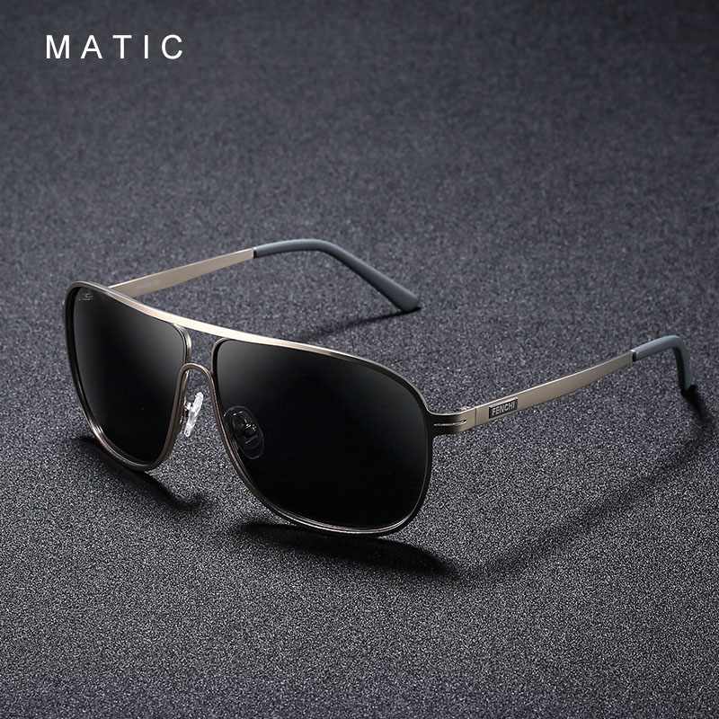 MATIC High Polarized Lenses Vintage Aviation Sunglasses For Mens Driver's Square Gold Metal Frame Sun Glasses Male uv400 Eyewear