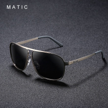 MATIC High Polarized Lenses Vintage Aviation Sunglasses For Mens Drivers Square Gold Metal Frame Sun Glasses Male uv400 Eyewear