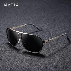 Image 1 - MATIC High Polarized Lenses Vintage Aviation Sunglasses For Mens Drivers Square Gold Metal Frame Sun Glasses Male uv400 Eyewear
