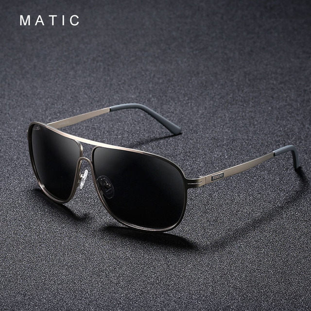 MATIC High Polarized Lenses Vintage Aviation Sunglasses For Mens Drivers Square Gold Metal Frame Sun Glasses Male uv400 Eyewear