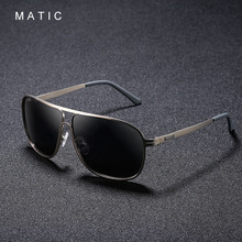 MATIC gafas de sol polarizadas de Estilo Vintage para hombre, estilo aviador masculinos de anteojos de sol, con marco cuadrado de Metal dorado, con uv400