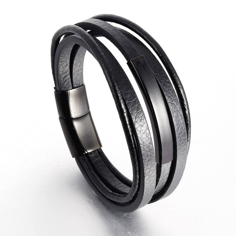 2020 New Fashion 24styles Genuine Leather Bracelet Men Stainless Stell Magnet Black Multilayer Leather Bracelet For Men Jewelry