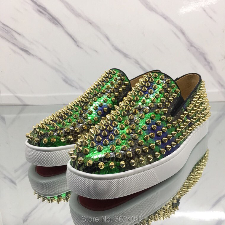 sale retailer 56cd2 21d0c US $120.0 |Low Cut shoes Outdoor Green Snake Golden Rivet Slip On Red  bottoms For man Shoes Sneakers Leather Loafers Men's Flat Footwear-in Men's  ...