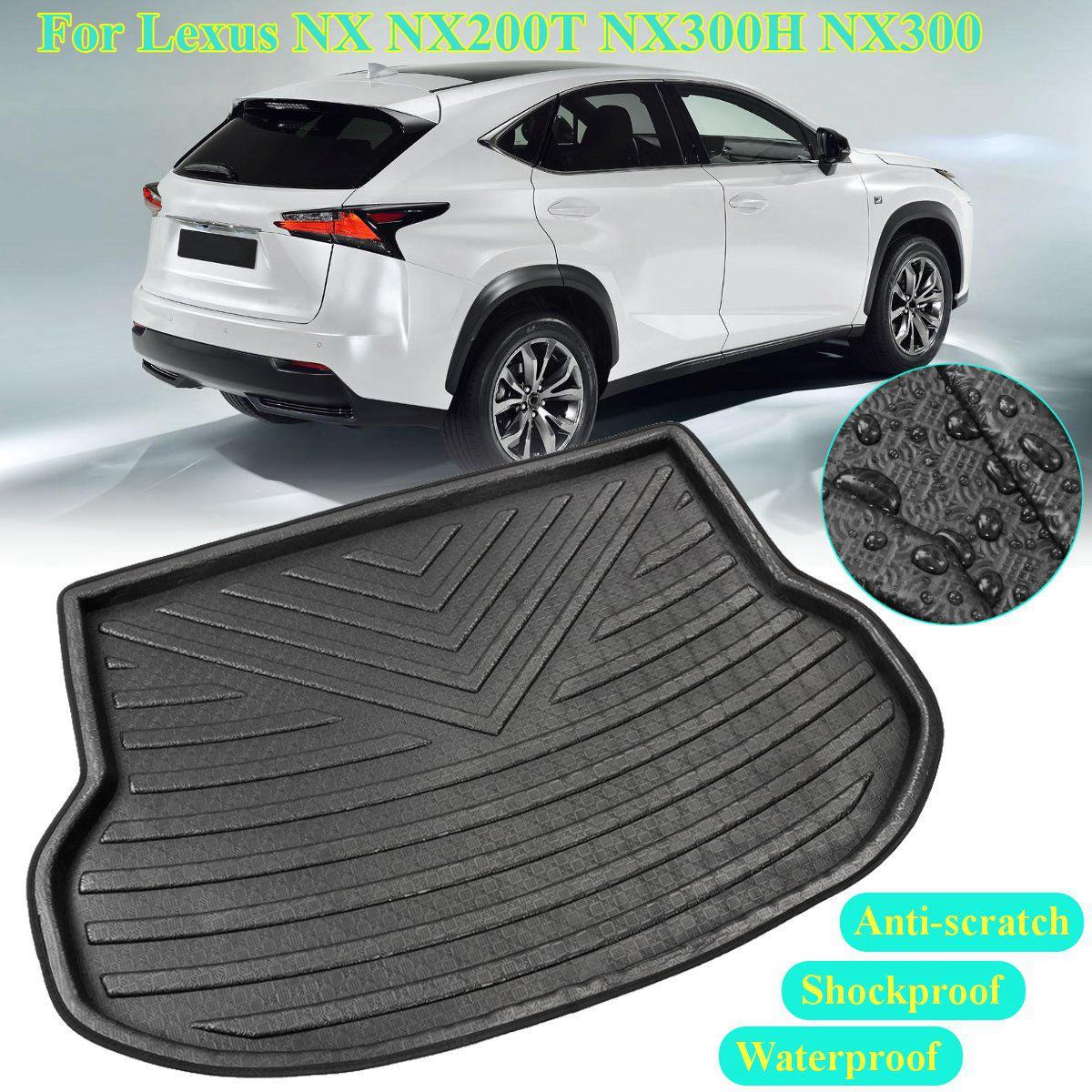 Accessories Cargo Boot Liner For Lexus NX NX200T NX300H NX300 2015 2016 2017 2018 Rear Trunk Mat Floor Tray Carpet Mud Kick Pad