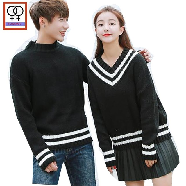 8d6c01d2d1 Matching His and Hers Outfits Preppy Style Boyfriend Girlfriend Striped V  Neck Sweater Cute Sweet Black Knit Couple Sweaters 193