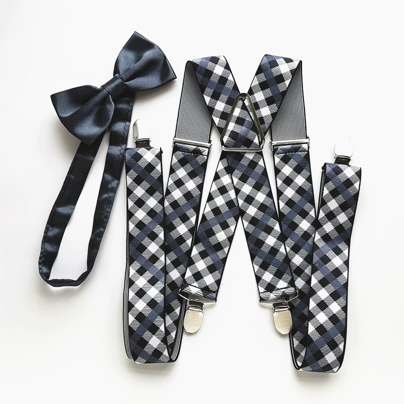 Plaid Color XXL Size Big Unisex Suspender Butterfly Bow Tie Set Men Women Adult Suspenders Neck Tie Matching Shirt LB064