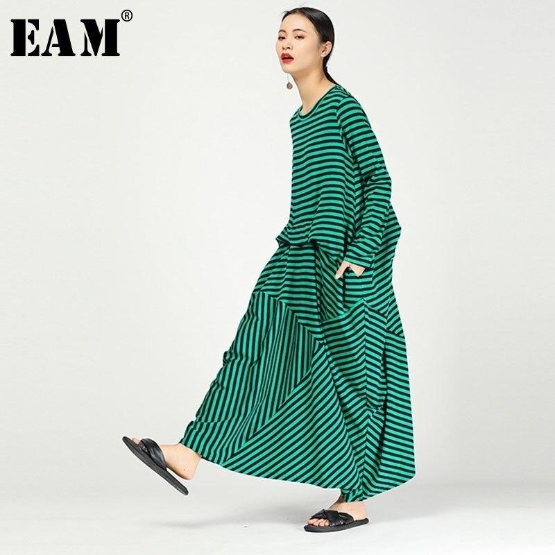 [EAM] 2019 nouveau printemps été col rond à manches longues vert rayé Split Joint pli lâche robe femmes mode marée JO102