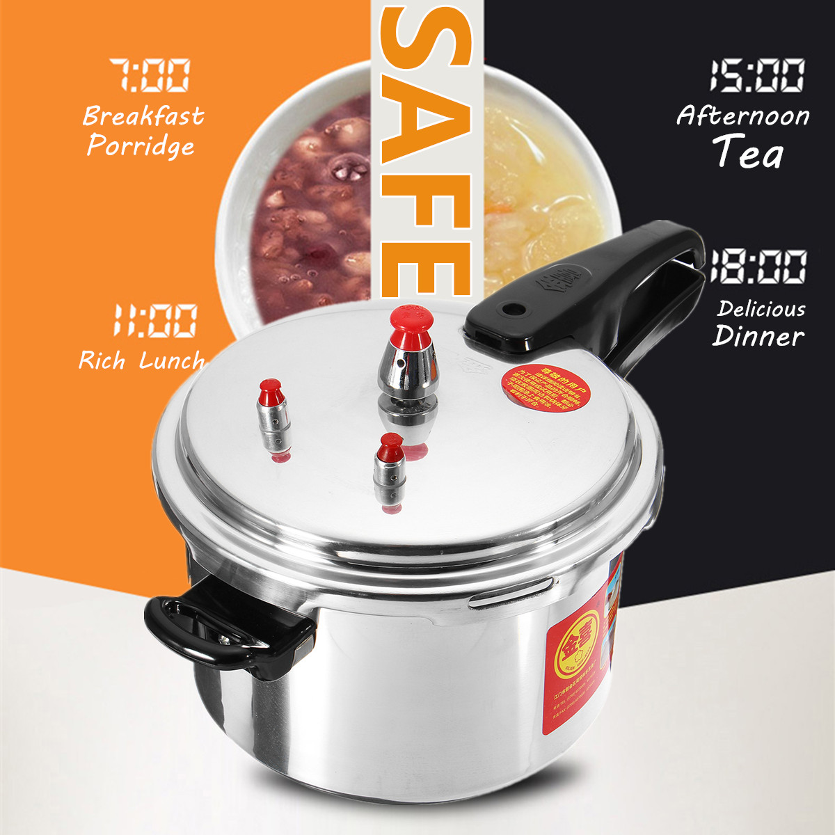 Aluminium Alloy Kitchen Pressure Cooker 20/24CM Gas Stove Cooking Energy-saving Safety Protection Light-weight Easy to CleanAluminium Alloy Kitchen Pressure Cooker 20/24CM Gas Stove Cooking Energy-saving Safety Protection Light-weight Easy to Clean