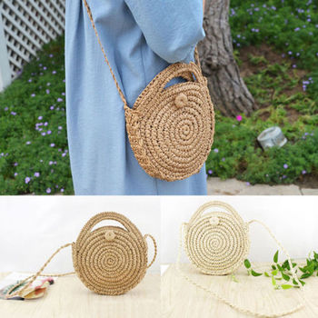 2019 New Fashion Holiday Beach Crossbody Bags Round Handwoven Rattan Circle For Women Lady Bamboo Straw Satchel