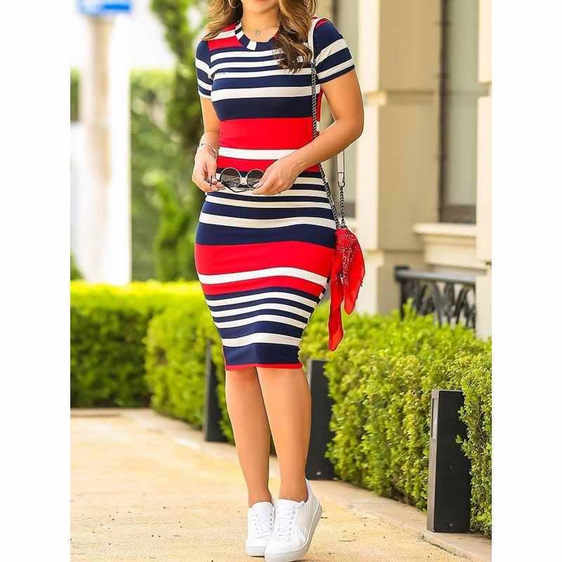 Женское облегающее платье сексуальные тонкие цветные полосатые модные элегантные летние 2019 новые корейские стильные уличные школьные повседневные платья для девочек