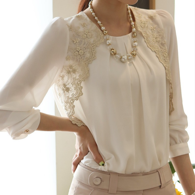 Women Loose Chiffon Blouse Feminine Lace Embroidery Patchwork O-neck Shirt Female Long Sleeve Office Tops Plus Size 5XL