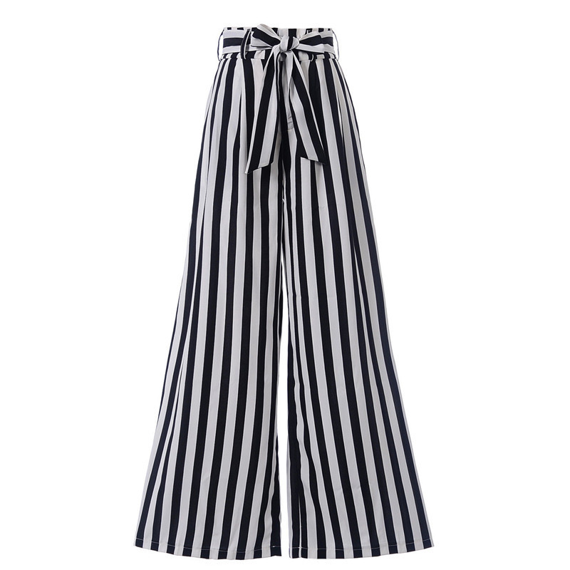 Women Ladies Summer Spring Striped Wide Leg   Pants   Trousers Loose Bow Knot High Waiste Beach Casual   Pants     Capris   Fashion New