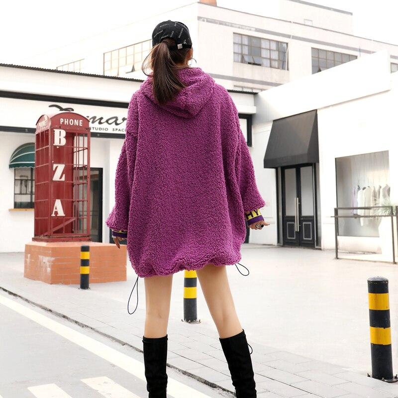 Khaki Capuche Patch Sweat Manteau Lettre Femmes Mo Impression Qing À Lâche Qf175 Robe Pull Pourpre Épais purple Hiver Kaki Agneau UwREUC1q