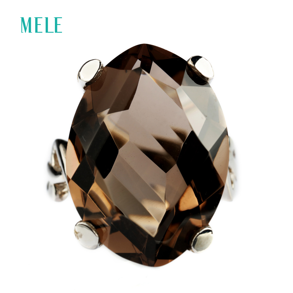 MELE Natural smoky quarts and white crystal silver ring irregular shape in 25mm 18mm stone size
