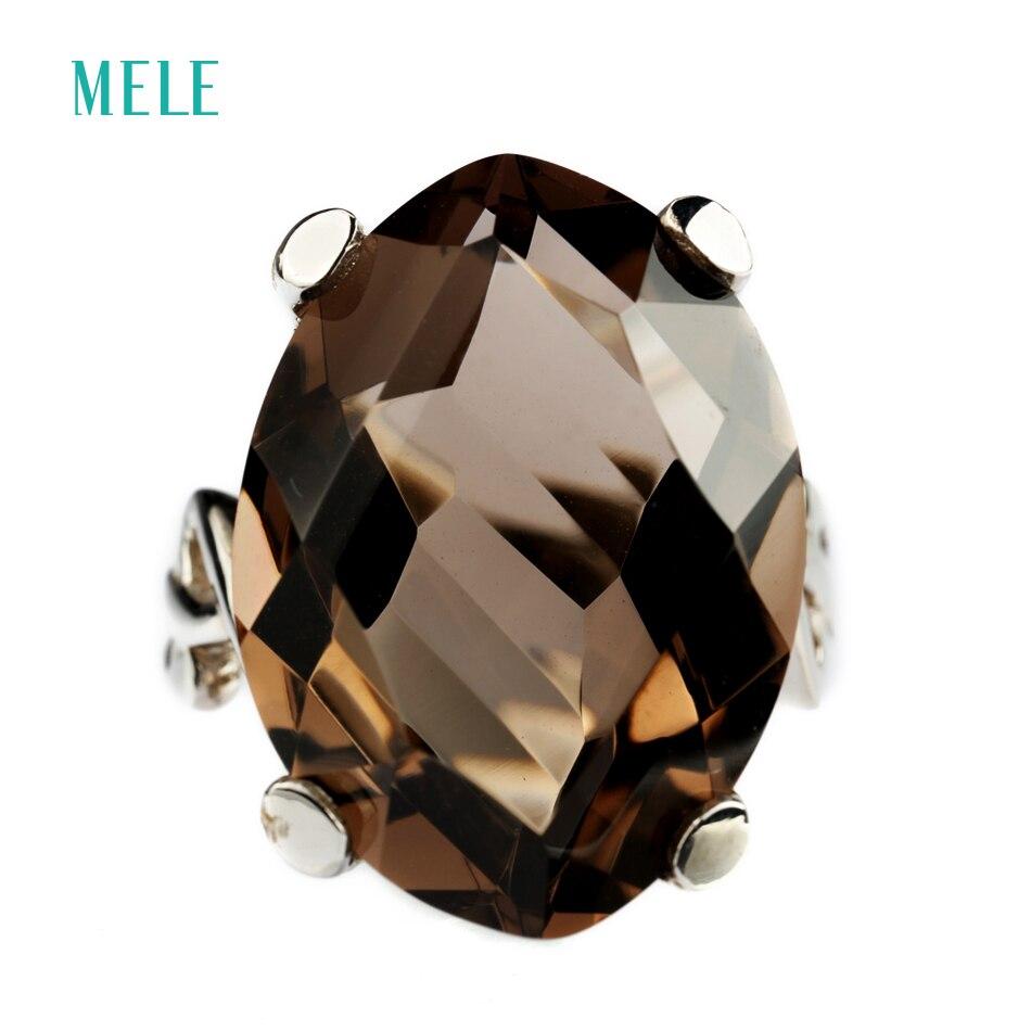 Cuarzo ahumado Natural MELE y anillo de plata de cristal blanco, forma irregular en 25mm * 18mm, tamaño de la piedra, buen corte y diseño-in Anillos from Joyería y accesorios    1