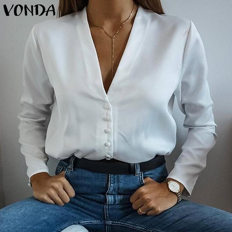 VONDA Female OL   Shirt   2019 Autumn Tops And   Blouses   Sexy V Neck Long Sleeve White   Shirt   Fashion Women Casual Top Blusas Plus Size