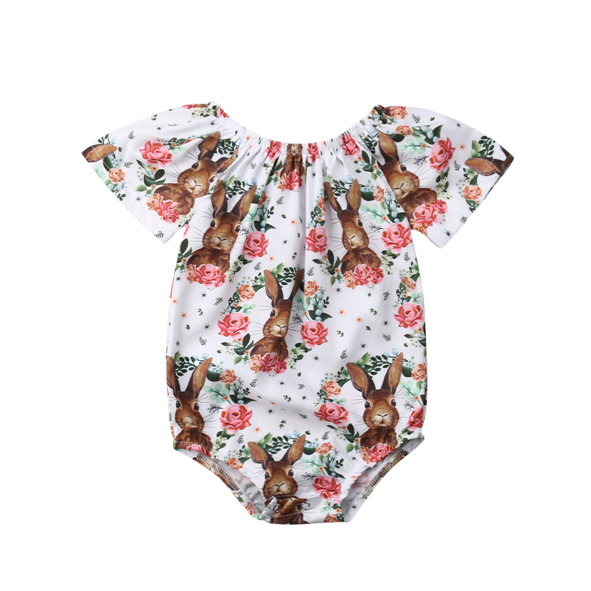 2019 Sommer Ostern Neugeborenen Kinder Baby Mädchen Bunny Floral Casualjumpsuit Body Outfits Kleidung