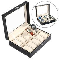 Synthetic Leather Glass Window 10 Slots Removable Pillow Watch and Storage Home Store Display Box Jewelry Case Storage Container