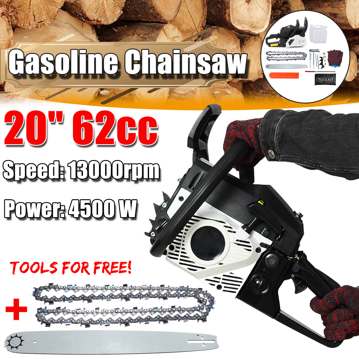20 inch 62cc 4500W Garden Instrument Woodworking Chainsaw Refit Kit Professional Gasoline Engine Cycle Chain Saw Cutting Sawing