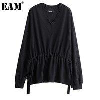 [EAM] 2019 New Spring Summer V collar Long Sleeveblack Waist Drawstring Big Size Irregular Knitting Sweater Women Fashion JL766