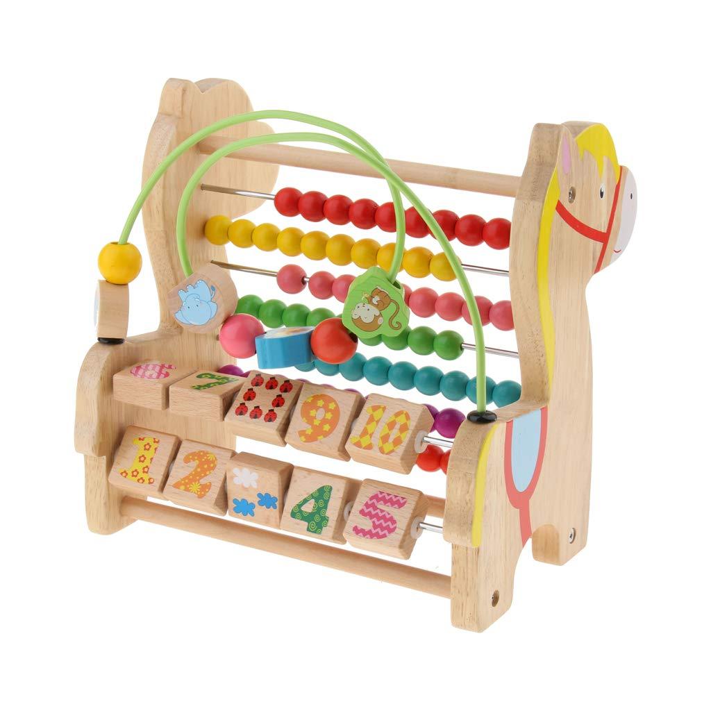 En bois 3 en 1 jouet boulier labyrinthe nombre blocs début d'apprentissage mathématique jouets éducatifs cadeau d'anniversaire pour enfants enfants