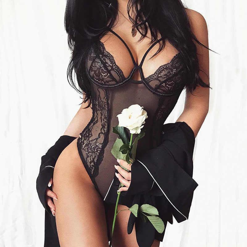 Las mujeres Sexy Lencería porno pura body de encaje transparente Catsuit  cuerpo caliente 5496426b3059