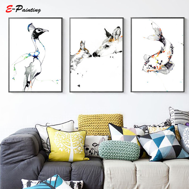 Abstract Animal Print Posters The Loving Mother Dear and Baby Dear Modern Canvas Print Picture Living Room Home Decor