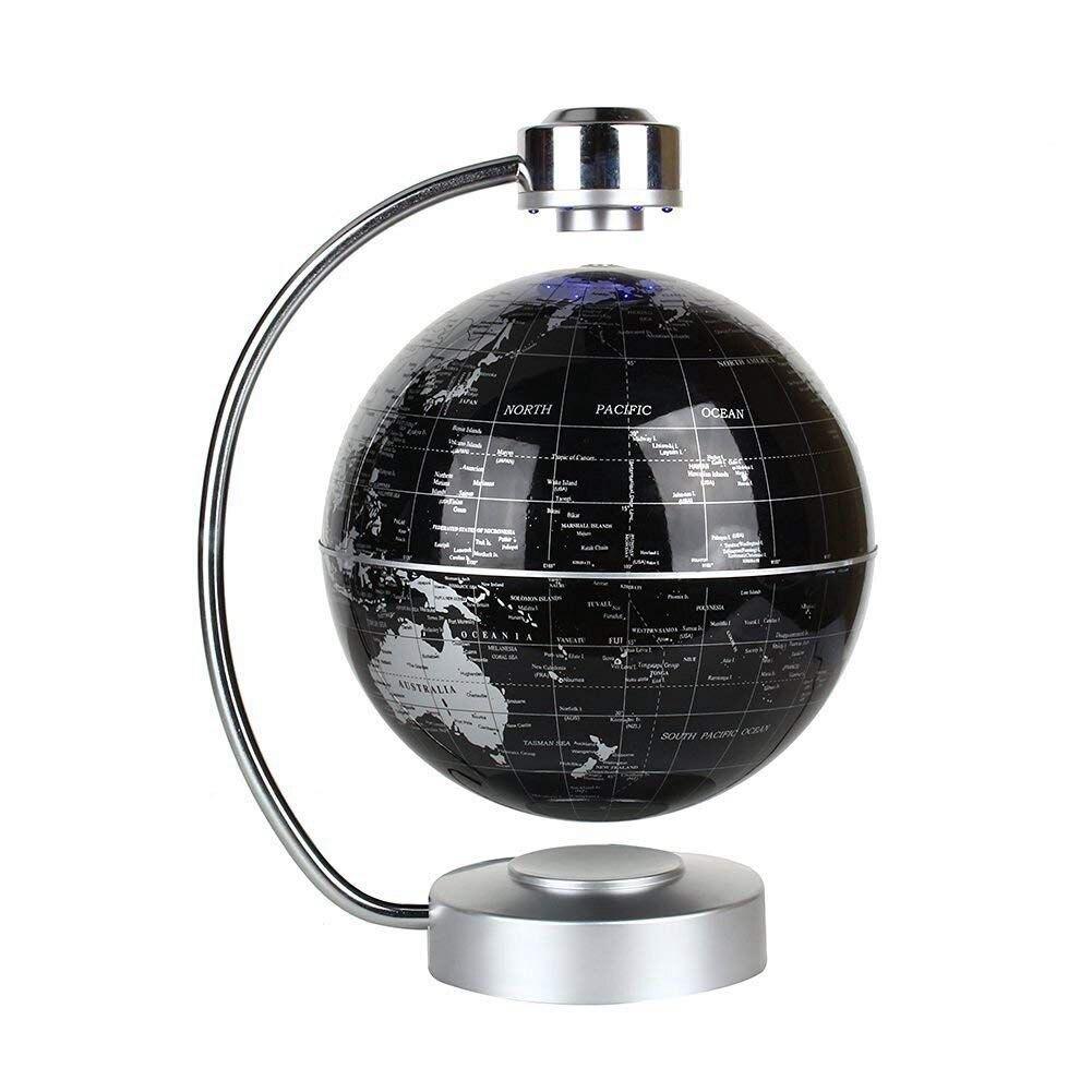 PPYY new-eu plug, globe de carte du monde de flûte à lévitation magnétique, sphère de terre rotative de 8 pouces avec pilier d'affichage de LED-géographie