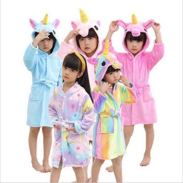 3-10T Bathrobes for Girls Pajamas Kids Rainbow Unicorn Pattern Hooded Towel Boys Bath Robe Sleepwear Children blanket sleeper