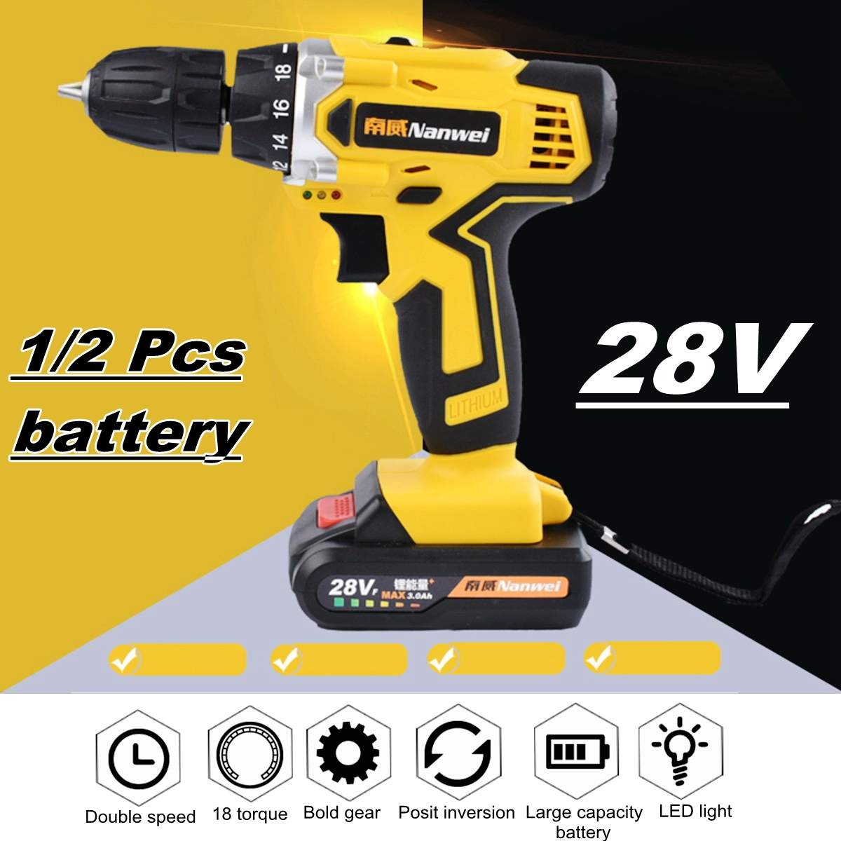 28V Electric Cordless Drill Driver Screwdriver Li-Ion Battery LED Light 2-Speed28V Electric Cordless Drill Driver Screwdriver Li-Ion Battery LED Light 2-Speed