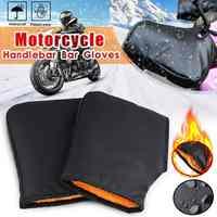 1Pair 20cm Motorcycle Handle Bar Muffs Snowmobile Waterproof Windproof Warm Cover Gloves Winter Black