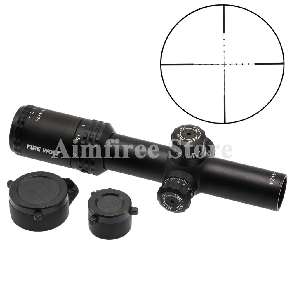 Tactical 1-4X24 Red/Green Illuminated Optics Riflescopes Hunting Rifle Scope with Mounts For Sniper Rifle прицел nikon monarch 7 1 4x24 il r4 zr
