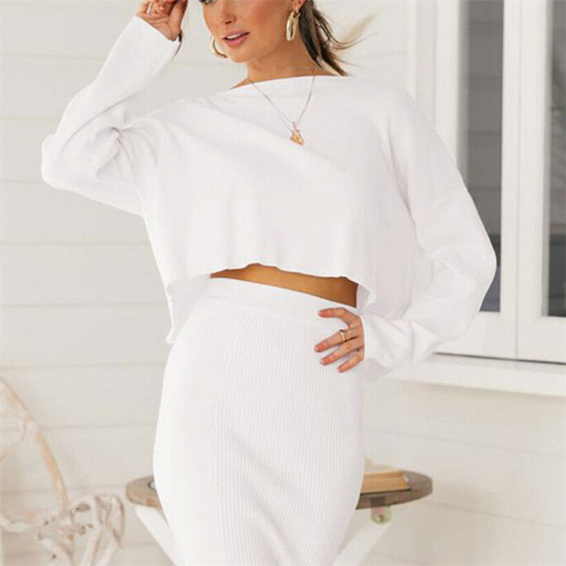 Women Slim Sexy Solid Color Skirt High Waist Long Sleeve Top Skirt Pencil Club Skirts Elegant Woman Party Casual Clothing Hot