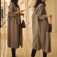 Women Sweater Autumn Winter Knitted Hooded Fashion Long Sleeve Cardigan Casual Loose Outwear Tops