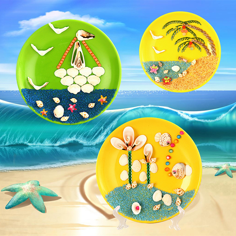 Kids Diy Art Shells Pictures Kindergarten Children Colorful Craft Toys Plate Originality Manual Make Material Science Package