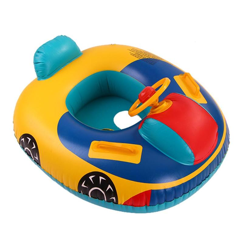 Summer Swimming Ring Cartoon Bumper Cars Seat PVC Swimming Ring Baby Toddler Inflatable Float Swimming Toy For Children