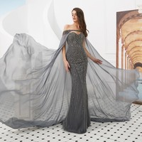 vivian's bridal 2019 new fashion sweetheart mermaid evening dress sexy sleveless backless removable cape beading formal gown