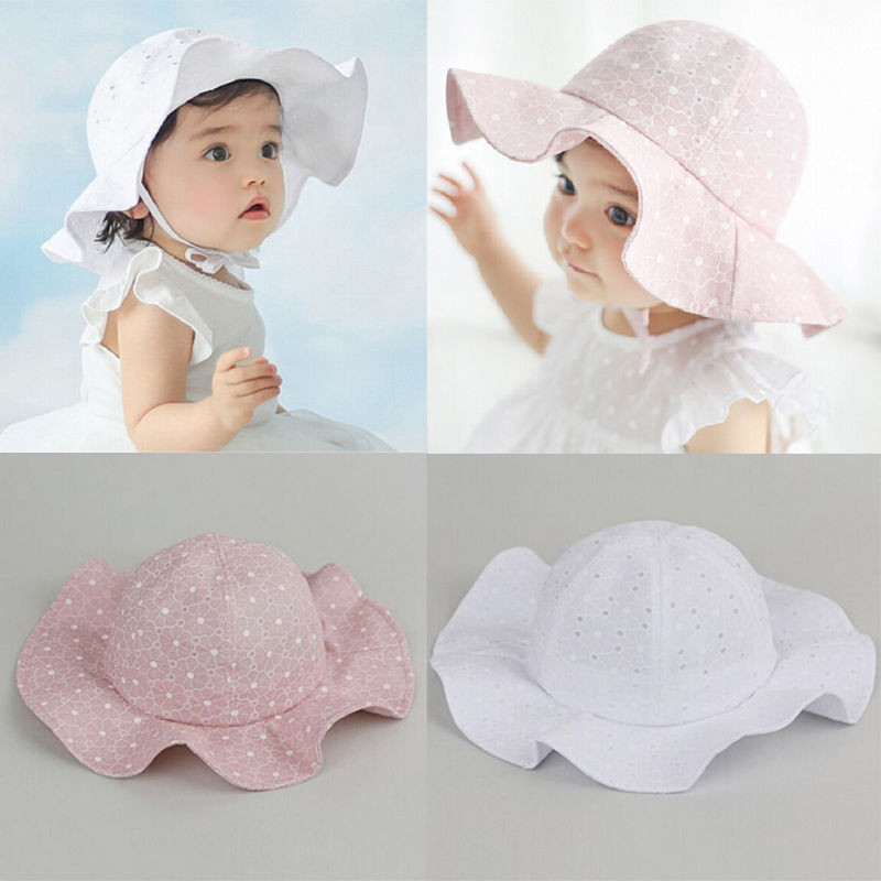 PUDCOCO Fashion Infant Baby Girls Adjustable Outdoor Bucket Hat Summer  Casual Lovely Sun Beach Travel Bonnet Beanie Cap 1-6T