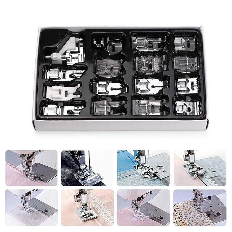 16pcs Sewing Machine Presser Foot Feet Kit Set With Box Brother Singer Janom Sewing Machines Foot Tools Accessory Sewing Tool