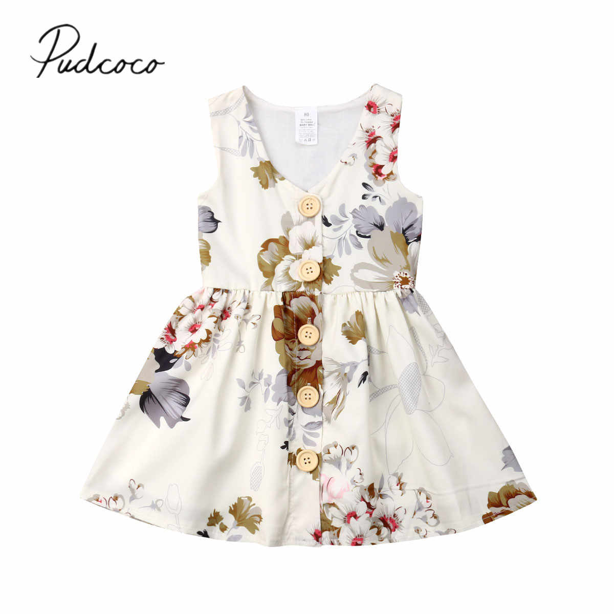 2019 Brand New Infant Kids Baby Girls Dress Sleeveless Button V-neck Floral Boho Sundress Princess Summer Party Dresses 6M-5Y