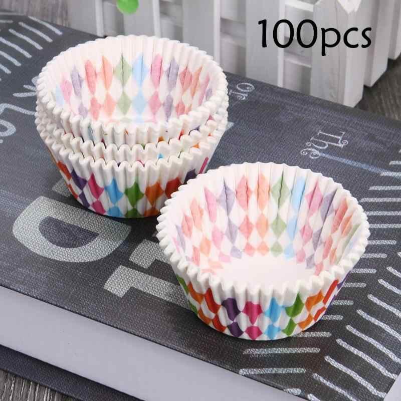 Warna Pelangi Cupcake Liner Cupcake Kertas Cangkir Kue Kue Muffin Cetakan Kecil Kotak Kue Piala Tray Alat Dekorasi 100 pcs Baru