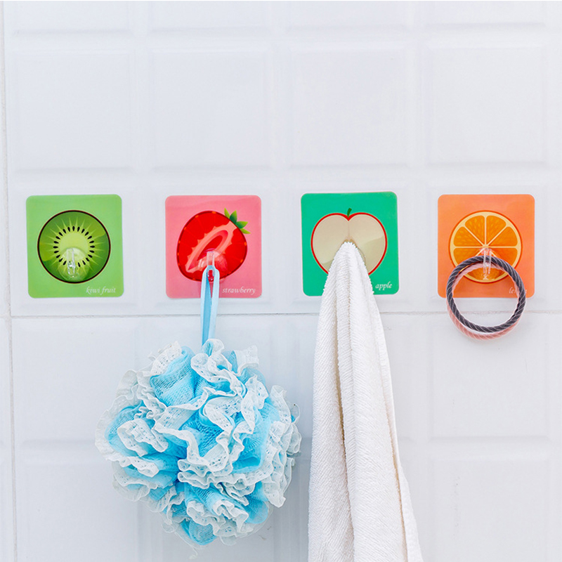 New Cartoon Fruit Hooks Kitchen Bathroom Printed Seamless Multipurpose Storage Nail-free Hooks Glue Door Wall 1PC