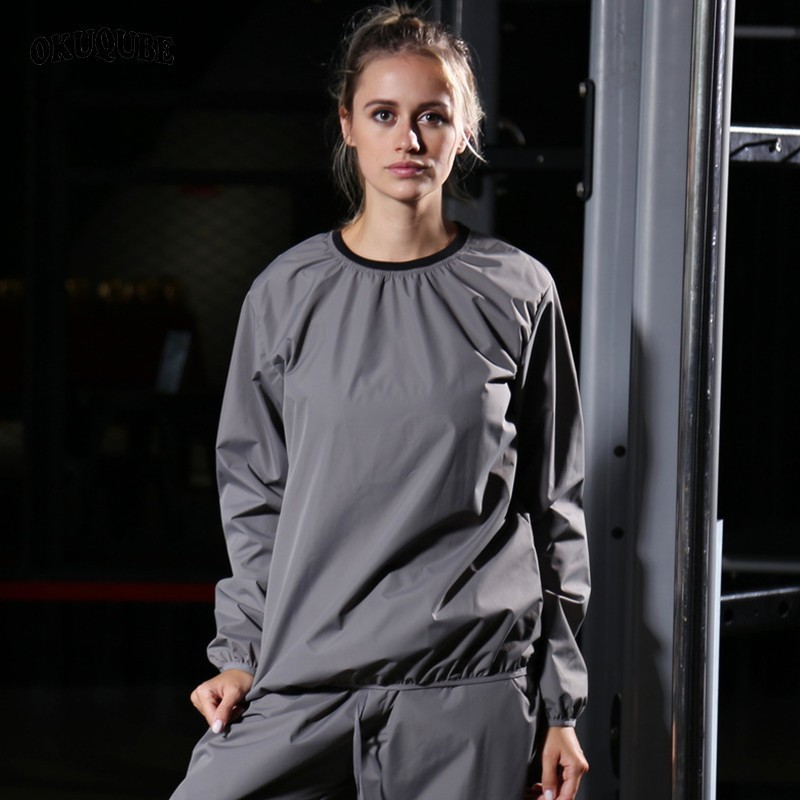 Heavy Duty Weight Lost Women Sauna Suit Set Body Building Gym Clothes Black Gray Fitness Clothing Running Training Sportswear in Trainning Exercise Sets from Sports Entertainment
