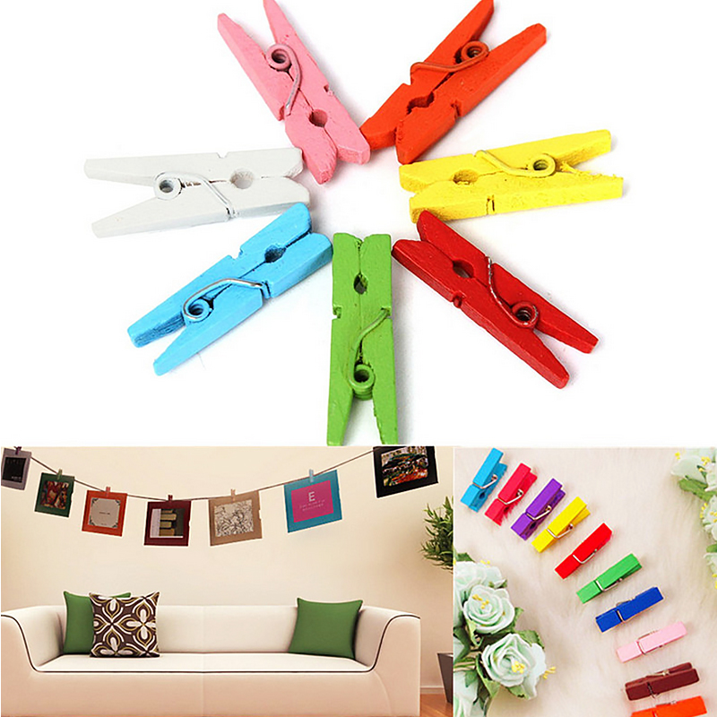 Image 4 - 100PCS/1Set 25mm Mini Color Wooden Craft Pegs Clothes Paper Photo Hanging Spring Clips Clothespins-in Clothes Pegs from Home & Garden