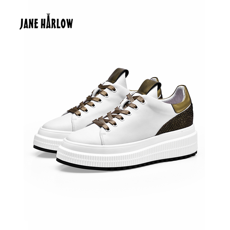 2019 Spring Autumn New Designer White Shoes Female Casual Sneakers Lace Up Women Thickened Sole Driving