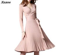 Elegant dress vintage sexy slim V-neck long sleeves with sashes knitted solid summer autumn woemn party dresses Xnxee