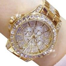 Kadın saatler kuvars elmas lüks izle moda üst marka kol moda izle bayanlar kristal takı gül altın izle