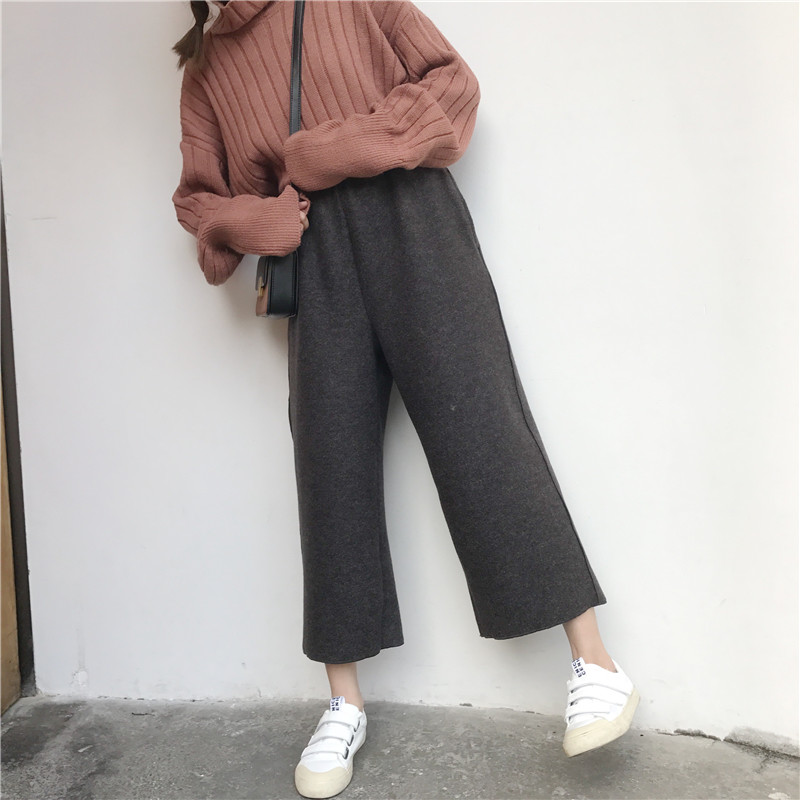 2018 New Women's Thicken Woolen   Pants   Autumn Winter Solid High Waist Loose Ankle-Length   Pants   Female Casual Wool   Wide     Leg     Pants